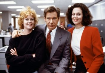 "Melanie Griffith, Harrison Ford e Sigourney Weaver in ""Una donna in carriera""."